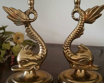 Vintage Pair heavy Brass Baldwin hand Forged in USA high end candle sticks dolphin fish victorian style decor mid century decor