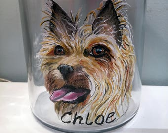 Custom Hand Painted Pet/Dog/Cat on Anchor Hocking 2-Qt Lidded Glass Jars Painted from your Photo