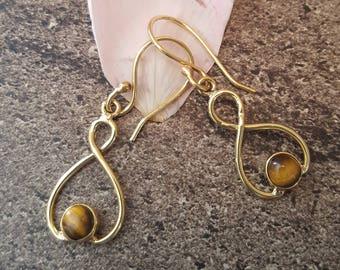 Earrings in brass with semi-precious stone, Tigers eye, infinity pattern / Boho jewelry / Gypsy jewelry / infinity earrings