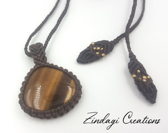 with Tiger/'s Eye Pearl Shell Necklace Pacific Macrame Gemstone Necklace -HIPPIE -GOA-Boho-Ethno-Nature-Healing Stone