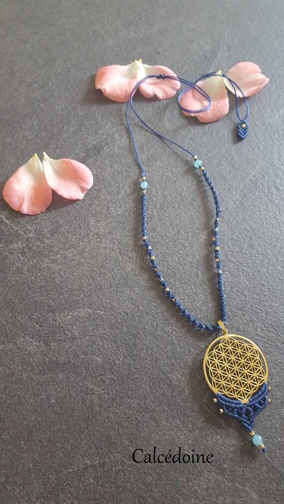 Collier Macrame Fleur De Vie En Laiton Et Perles Etsy