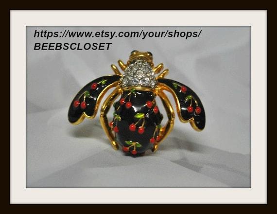 Joan Rivers jewelry, Cherry Bee Pin, Vintage Joan
