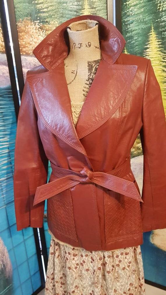 Vintage Leather, Burnt Orange 1970's leather jacke