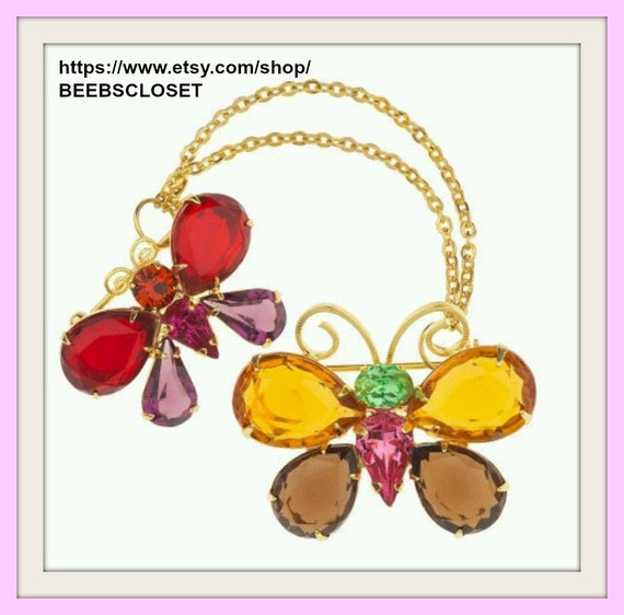 Joan Rivers Multi Color Crystal Butterfly, Two pin