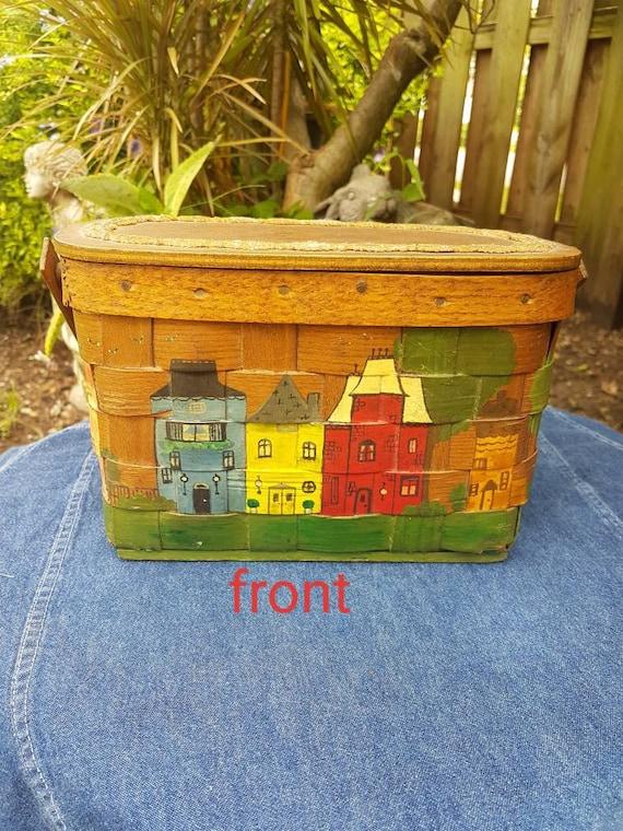 Vintage wood box purse, Hand painted purse, Wood B