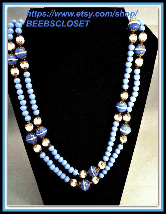 Vintage Blue Necklace , Long vintage necklace, Uni