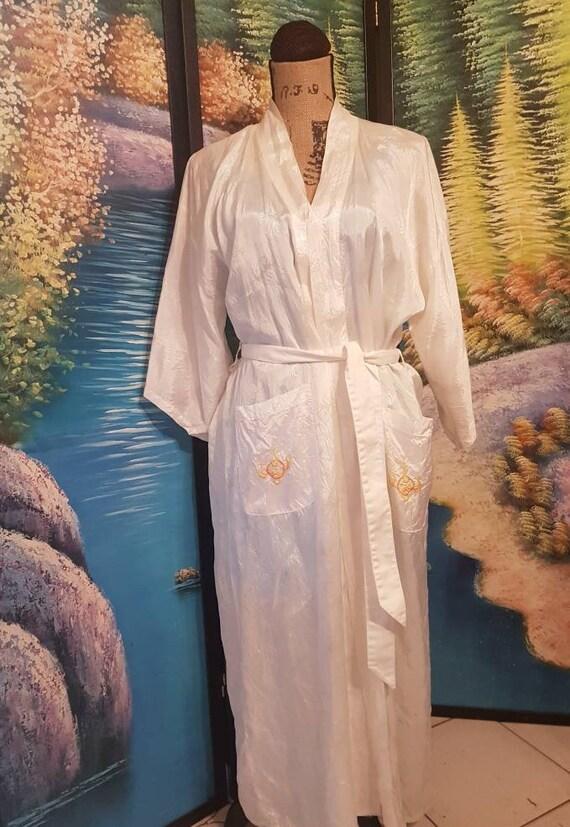 Silk robe, Yellow Dragon robe, Vintage silk robe,