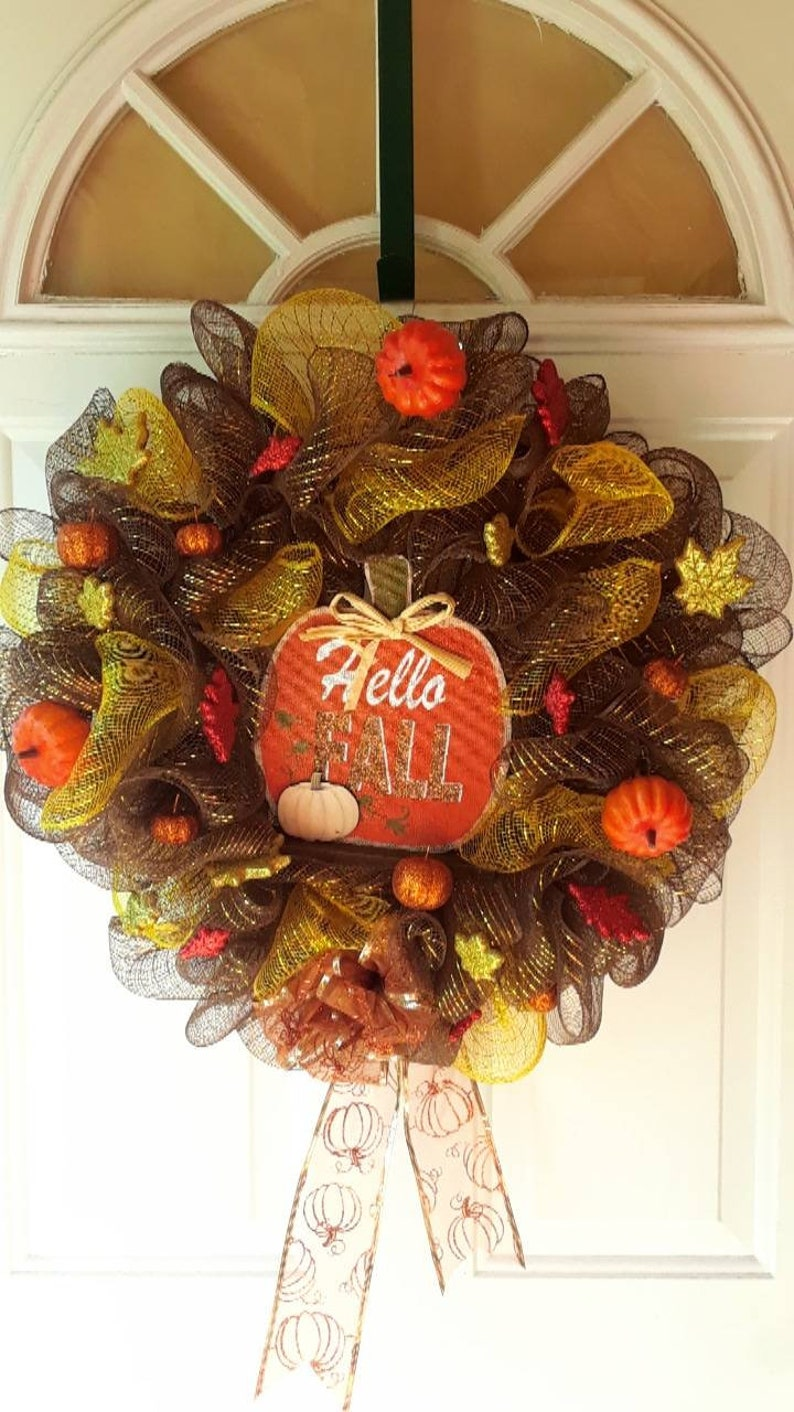 Hello Fall Mesh Wreath Brown With Yellow Door Decor Pumpkins Etsy
