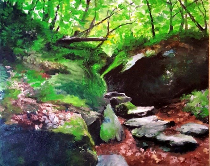 "Featured listing image: 18"" x 18"" Oil on Canvas ""Greylock Boulders"" 2018"