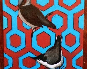Birds on Mauve and Blue Geometric