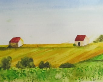 French Countryside Watercolor