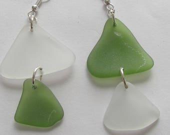 Sea Glass White and Bottle Green Earrings