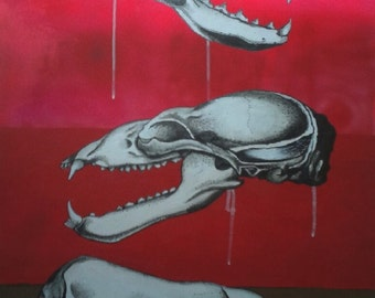 3 Skulls: Weasel, Bear, Sea Lion - Inspired by vintage science text books from the 1960s and 70s my paintings have a retro yet modern feel