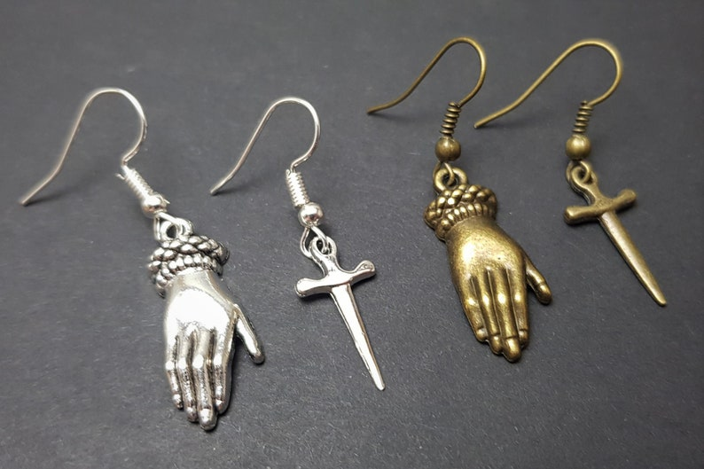 SilverBronze Selection Victorian Gothic Occult Dagger Earrings