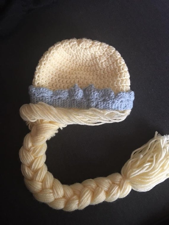 8b9b4dd95 Princess hat, ice queen hat, hat with princess braid, hat with crown, ice  princess, Elsa