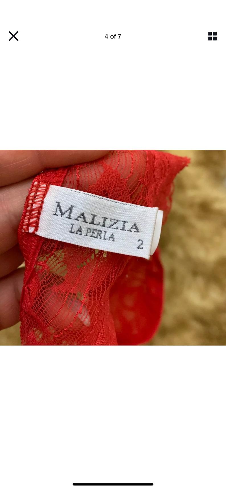 Malizia La perla red lace panty thong size Usa S uk12 eu38