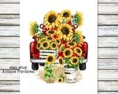Primitive Farmhouse Sunflower Filled Red Truck Summer Fall Autumn Feedsack Flour Sack Cream or White Fabric Panel 1114