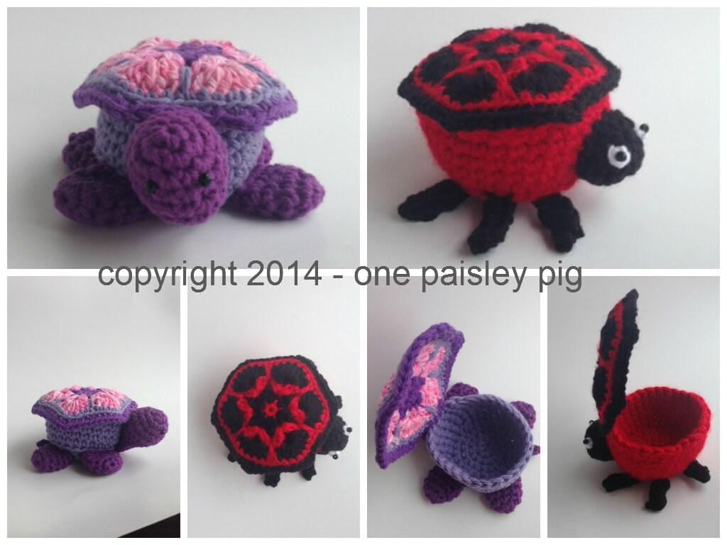 Turtle & Ladybug Bowl/Basket PDF CROCHET PATTERN   Etsy