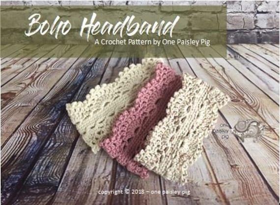 Boho Crochet Headband Pattern - Instant Download PDF CROCHET PATTERN