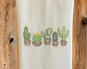 5 Potted Cactus Embroidered Towel