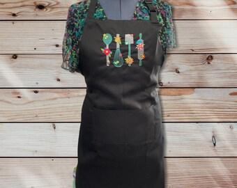 Beautiful Kitchen Utensils Embroidered Apron