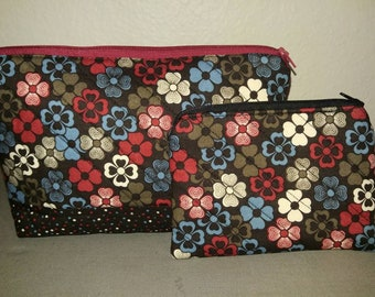 Flower and polka dot cosmetic bag and coin purse