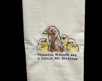 Thankful Blessed Embroidered Tea Towel