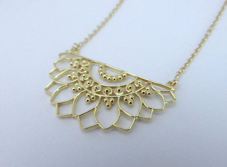 mandala necklace with dotwork brass