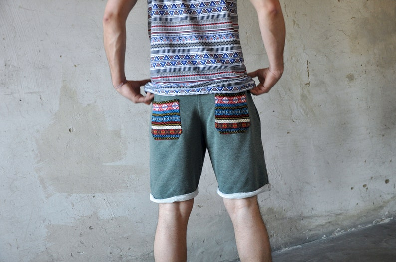 sweat shorts for men with pockets in green