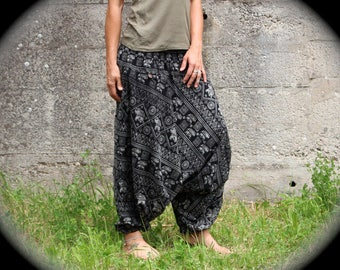 Alibaba pants with elephants in black and white