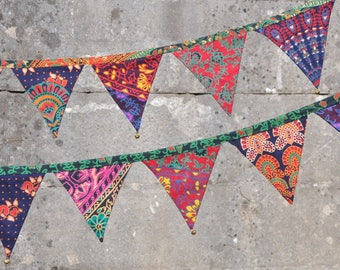 colourful bunting /Patchwork style garland with brass bells