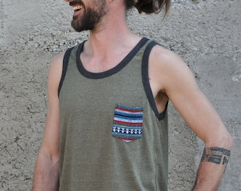 tank top for men in grey with ethnopocket Zb9852nqwN