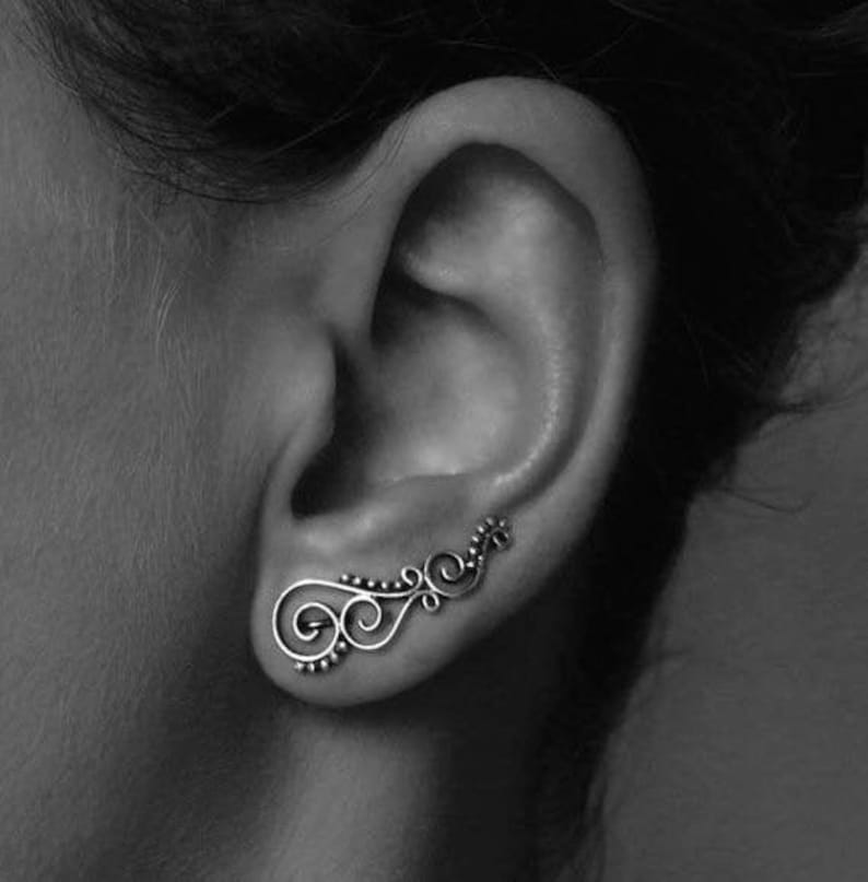 earclimber earcuff spiral with dots image 0