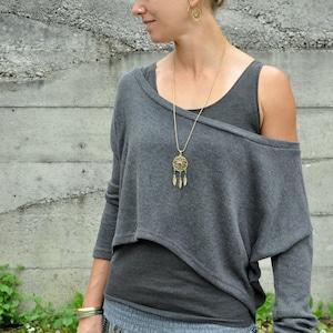 Black Asymmetrical SweaterSweater DressKnitwear DressLong PulloverLoose Plus Size SweaterOff Shoulder SweaterKnit BlouseF1257