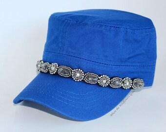 ddcd0e767a9 Items similar to Women s Cadet Hat Rhinestone Cap Shabby Chic ...