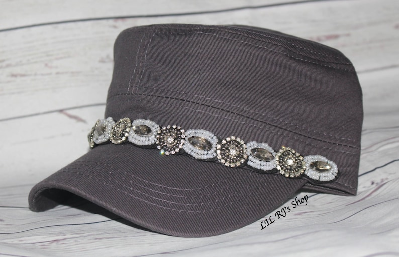 0a567857485 Womens Hats Womans Bling Rhinestone Cadet Cap Military Style