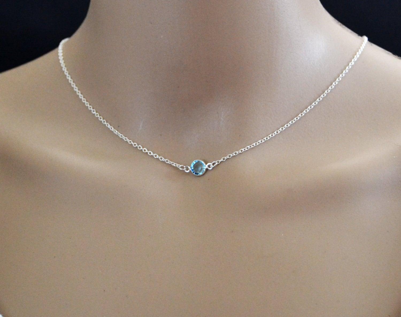 feb179ff45fc0 Silver Birthstone Choker Adjustable Sterling Birthstone Necklace Sterling  Silver Choker Necklace Swarovski Gemstone Simple Necklace