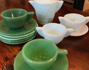 Vintage Akro Agate Jadite Child's Tea Set