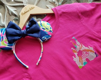 Disney Shirt, Castle Monogram Shirt in Lilly Pulitzer- Disney Shirts for Women, Castle Shirt-Disney Vacation Shirt-pink