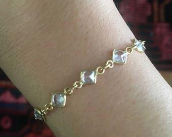 Lucy in the sky bracelet, 24k, gold bracelet, bracelet, gold fill, gold jewelry, boho, bohemian, cubic zirconia, crystal, dainty