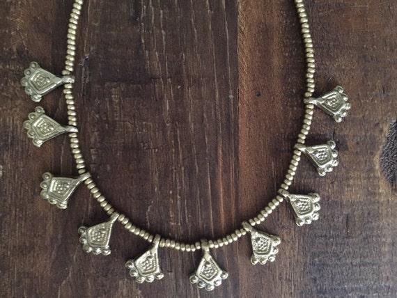 Tribal Midnight Dweller Necklace Brass Necklace Indian Brass Jewelry India Tribal Jewelry Bohemian,Festival style,Gold necklace Boho