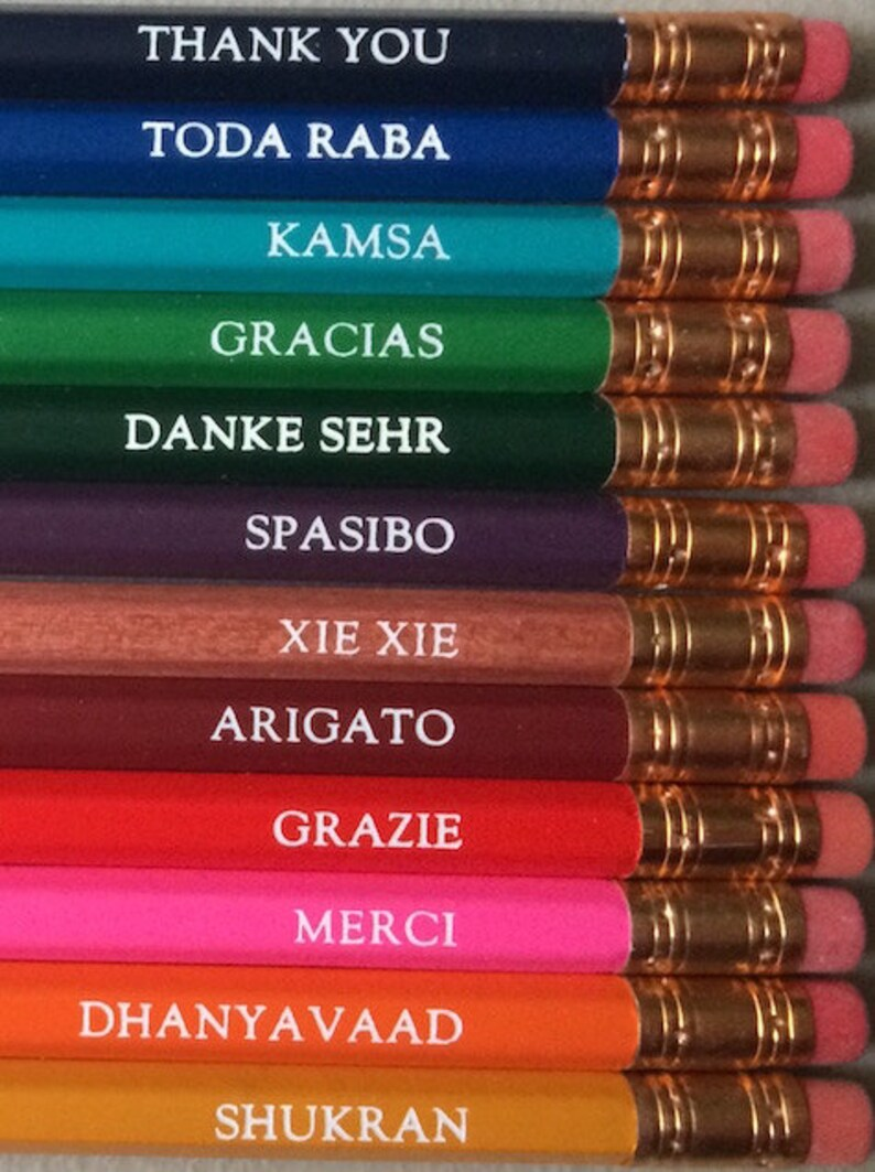 Thank You pencils in 12 Languages