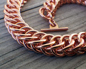 Copper chainmaille bracelet; chainmaille jewelry; copper bracelet; copper chain maille bracelet; half-persian 4-1 bracelet