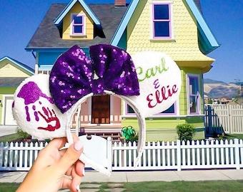 Carl & Ellie Ears   Mouse Headband   Sequin Ears   Disney Headband   Disney Parks   Disney Up
