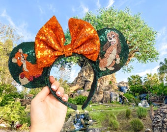 Fox & The Hound Inspired Mouse Ears   Mouse Headband   Sequin Ears   Disney Headband   Disney Parks   Tod and Copper