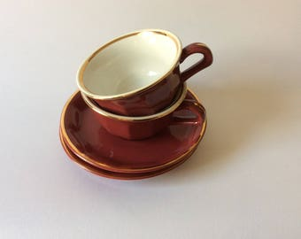 porcelain coffee cups and saucer made by Delaunay in France