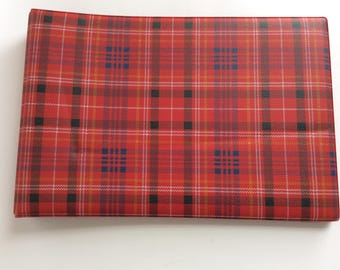 Vintage red plaid vynil photo album from the sixties