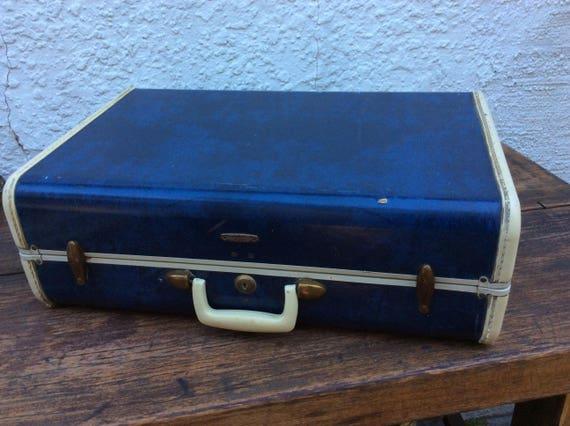 vintage blue marble samsonite suitcase
