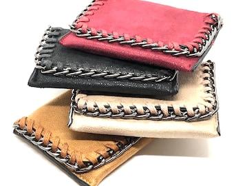 Fabric Pockets Bifold Wallet Vegan Chain Wallet Black Marble Swirl Dark Red Canvas Detachable Chain