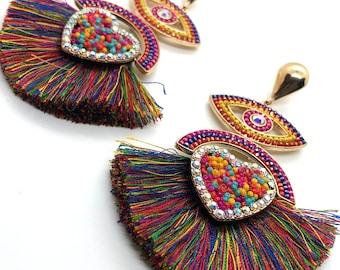 Statement earrings handmade Rainbow earrings sparkly Asymmetrical earrings Mismatched earrings Large Bohemian Earrings Cluster earrings